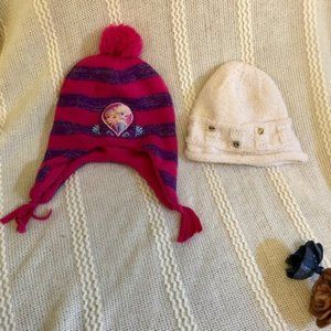 Two Girls Winter Knit Hats, including Frozen
